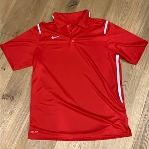 Men's M red Nike DRI-FIT golf shirt